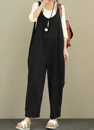 Casual Loose Pockets High Waist Cotton Blends Jumpsuits (146719232)