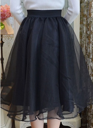Organza Solid Knee-Length Casual Skirts