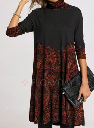 Casual Floral Embroidery Tunic Shift Dress (1424099)