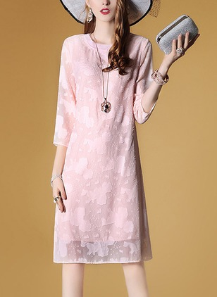 Cotton Solid 3/4 Sleeves Knee-Length Shift Dress