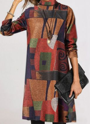 Casual Color Block Round Neckline Long Sleeve Knee-Length Dress (112602072)