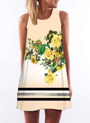 Floral Sleeveless Shift Dress
