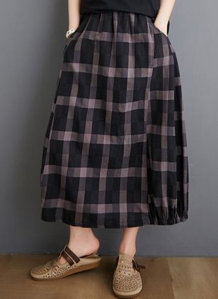 Check Mid-Calf Casual Pockets Skirts (4089049)