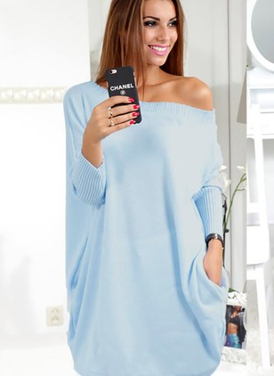 Solid Casual Polyester Oblique Neckline Long Sleeve Blouses
