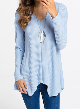 Cotton Others Solid Asymmetrical None Sweaters
