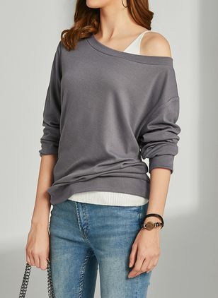 Solid Novelty Oblique Neckline Sweatshirts (1405141)