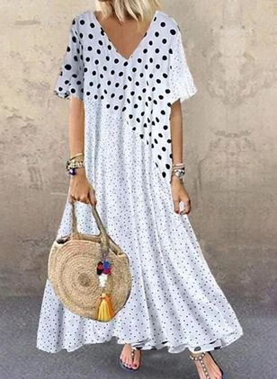 Casual Polka Dot Tunic V-Neckline A-line Dress (4457016)