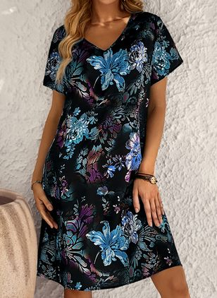 Plus Size Casual Floral Tunic V-Neckline A-line Dress (146932034)