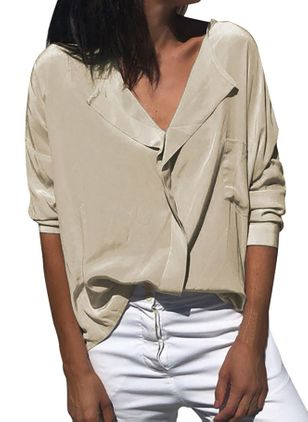 Solid Casual V-Neckline Long Sleeve Blouses (1457191)