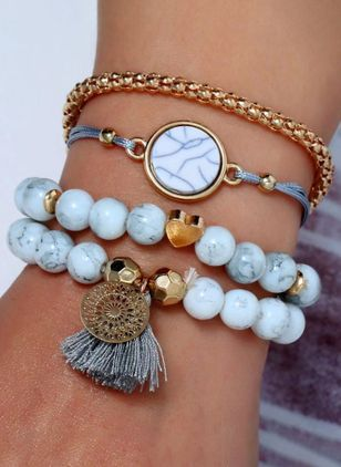 Casual Round Gemstone Beaded Bracelets (1417122)