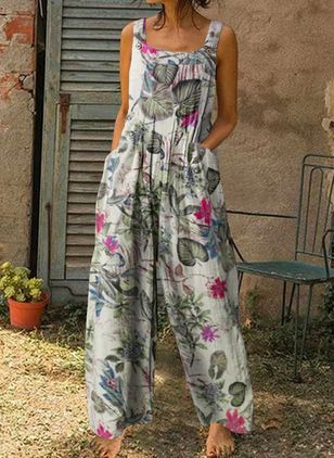 Casual Loose Pockets High Waist Polyester Pants Jumpsuits (146930718)