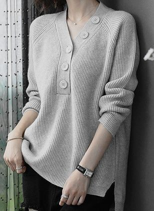 V-Neckline Solid Elegant Loose Regular Buttons Sweaters (107561562)