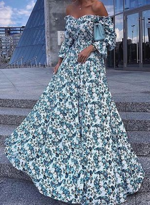 Elegant Floral Off the Shoulder Maxi X-line Dress (1530674)
