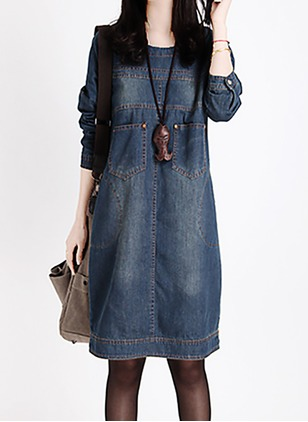 Cotton Solid Long Sleeve Knee-Length Shift Dress