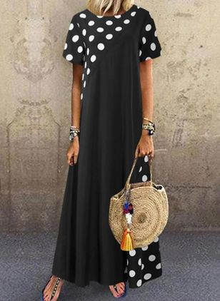 Casual Polka Dot Tunic Round Neckline Shift Dress (4458273)