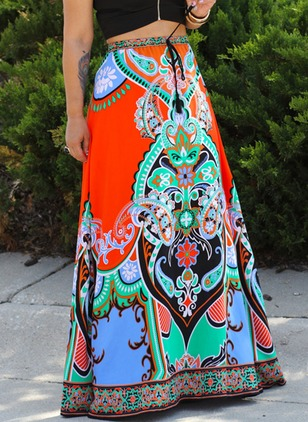 Polyester Floral Maxi Vintage Skirts
