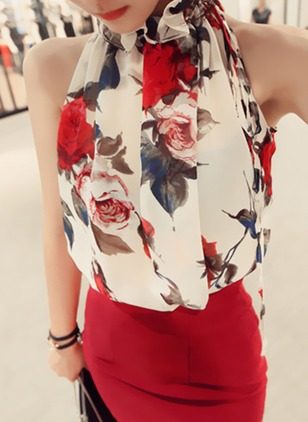 Floral Casual Others Sleeveless Blouses