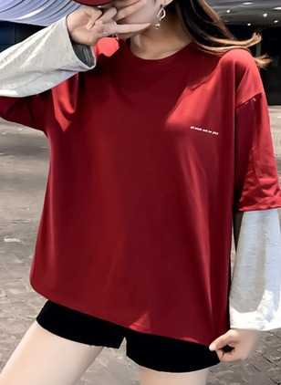 Color Block Round Neck Long Sleeve Casual T-shirts