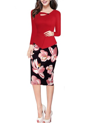 Cotton Floral Long Sleeve Knee-Length Dresses