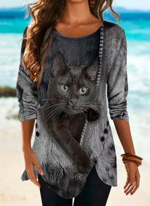 Animal Round Neck Long Sleeve Casual T-shirts (146862057)