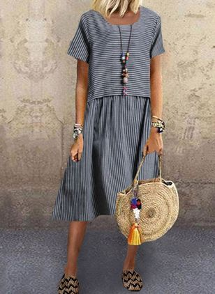 Casual Stripe Tunic Round Neckline Shift Dress (4864801)