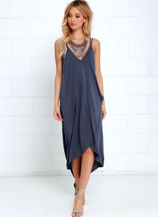 Solid Sleeveless Midi Shift Dress