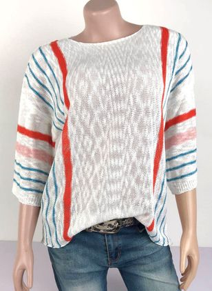 Round Neckline Color Block Casual Loose Regular Shift Sweaters (107561762)