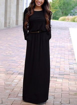 Cotton Solid Long Sleeve Maxi Dresses