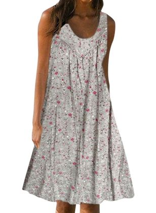 Casual Floral Tunic Round Neckline A-line Dress (1519409)