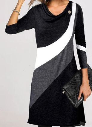Casual Color Block Tunic V-Neckline Shift Dress (146681859)