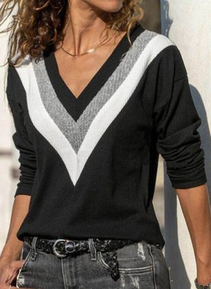V-Neckline Color Block Casual Loose Regular Shift Sweaters (109973864)
