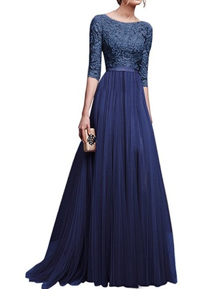 Solid Embroidery Boat Neckline Maxi A-line Dress