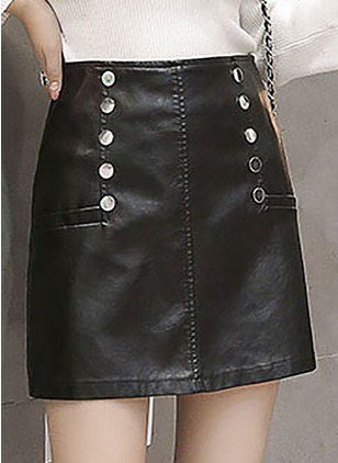 PU Solid Above Knee Casual Buttons Skirts