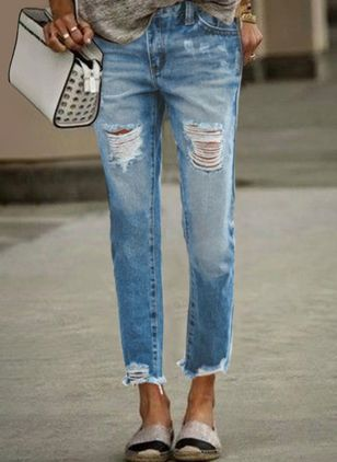 Casual Straight Buttons Zipper Pockets Mid Waist Denim Jeans (147037040)