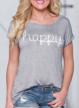 Alphabet Round Neck Short Sleeve Casual T-shirts