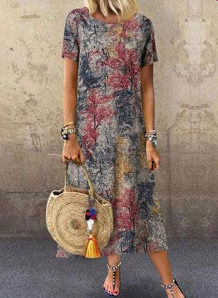 Casual Floral Tunic Round Neckline A-line Dress (4219495)