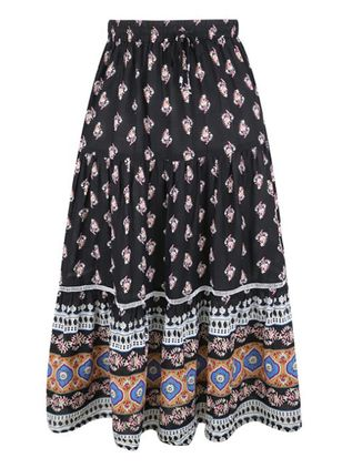 Floral Mid-Calf Casual Skirts (146744041)