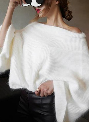 Cotton Strapless Neckline Solid Bat Shirt None Sweaters