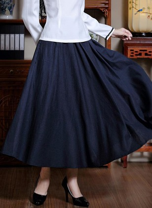Cotton Linen Solid Maxi Casual Ruffles Skirts