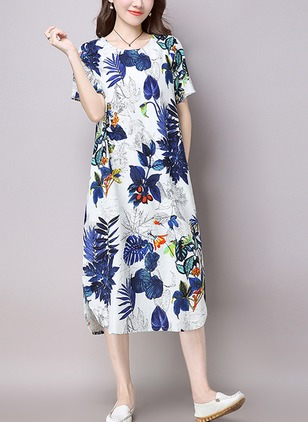 Cotton Floral Short Sleeve Midi Shift Dress