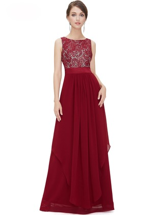 Solid Lace Camisole Neckline Maxi A-line Dress