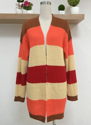Others Color Block Loose None Sweaters