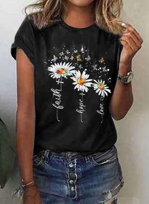 Floral Round Neck Short Sleeve Casual T-shirts (4348137)