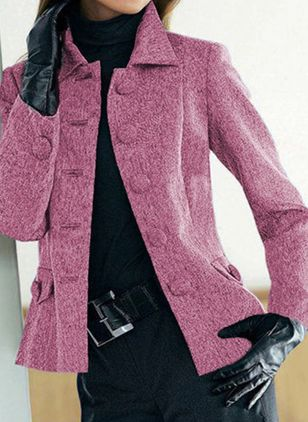 Long Sleeve Collar Buttons Pockets Coats (104146825)