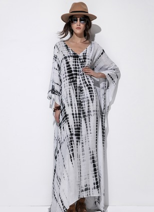 Rayon 3/4 Sleeves Maxi Dresses
