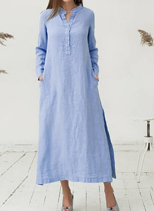 Solid Buttons Long Sleeve Midi Shift Dress