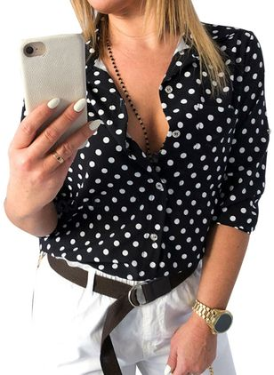 Polka Dot Casual Collar 3/4 Sleeves Blouses (5609182)