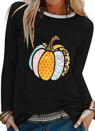 Color Block Round Neck Long Sleeve Halloween T-shirts (108859030)