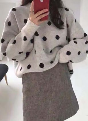 Round Neckline Polka Dot Loose Regular Shift Sweaters Sweaters