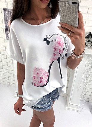 Polyester Floral Round Neck Half Sleeve Casual T-shirts